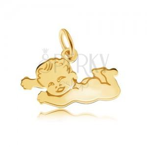 Plochý prívesok v žltom 14K zlate, lesklé nahé dieťatko ležiace na brušku