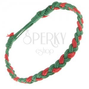 Zeleno-červený šnúrkový náramok, vrkoč