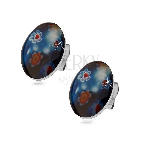 Puzetové oceľové náušnice, modrý ovál s farebnými kvetmi