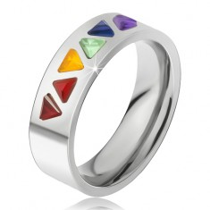 Lesklý prsteň z ocele, farebné trojuholníkové kamienky