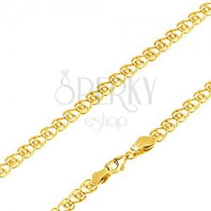 Retiazka zo žltého 14K zlata, srdcové očko so zatočenými koncami, 450 mm