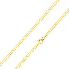 Retiazka v žltom 14K zlate - tenké ploché očká, lúčovité ryhy, 450 mm