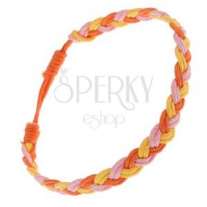 Pletený šnúrkový náramok žltej, ružovej a oranžovej farby