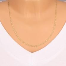 Zlatá retiazka 585 - tri malé očká, podlhovastý článok s mriežkou, 550 mm