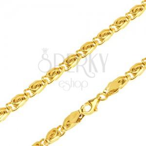 Retiazka v žltom 14K zlate - články s esíčkovým motívom, rovné, 510 mm