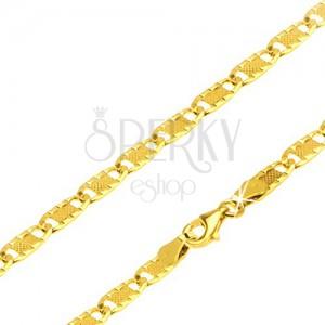 Retiazka zo žltého 14K zlata, ozdobne ryhované články s mriežkou, 500 mm