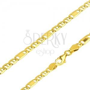 Retiazka v žltom 14K zlate - tri články s paličkou a jeden s obdĺžnikom, 550 mm