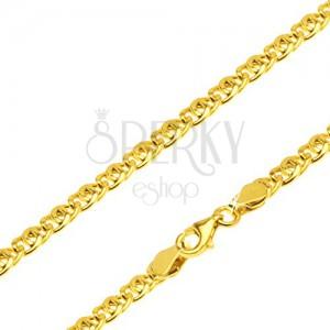 Retiazka zo žltého 14K zlata - dve oválne očká prekrížené cez seba, 450 mm