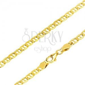 Retiazka v žltom 14K zlate - elipsovité očká predelené paličkou, 555 mm