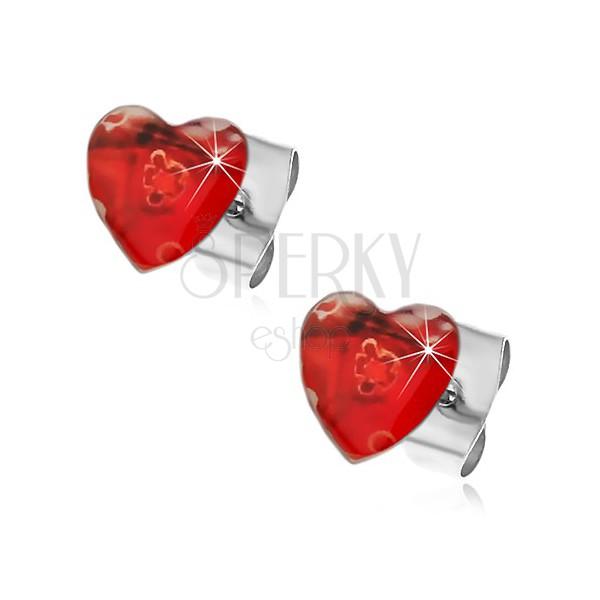 Oceľové náušnice srdcové s ťahanými kvetmi
