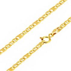 Šperky eshop - Retiazka v žltom 14K zlate, oválne očká s paličkou, článok s mriežkou, 550 mm GG23.08