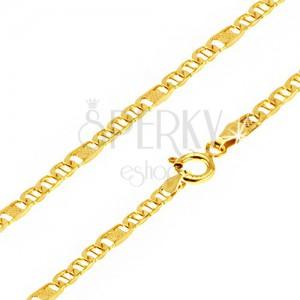 Zlatá retiazka 585 - ploché oválne očká s paličkou, článok s mriežkou, 500 mm