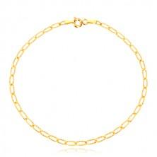 Zlatý náramok 585 - tenké podlhovasté očká, ozdobné ryhovanie, 200 mm