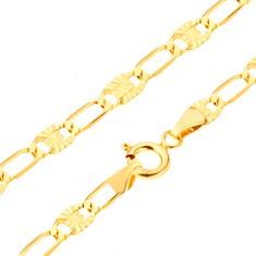 Náramok zo žltého 14K zlata - dlhšie očká, články a lúčovité ryhy, 205 mm