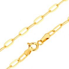 Šperky eshop - Zlatý náramok 585 na ruku - lesklé podlhovasté hladké očká, 200 mm GG25.05