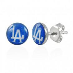 Šperky eshop - Náušnice z ocele, modré kruhy s nápisom LA S25.19