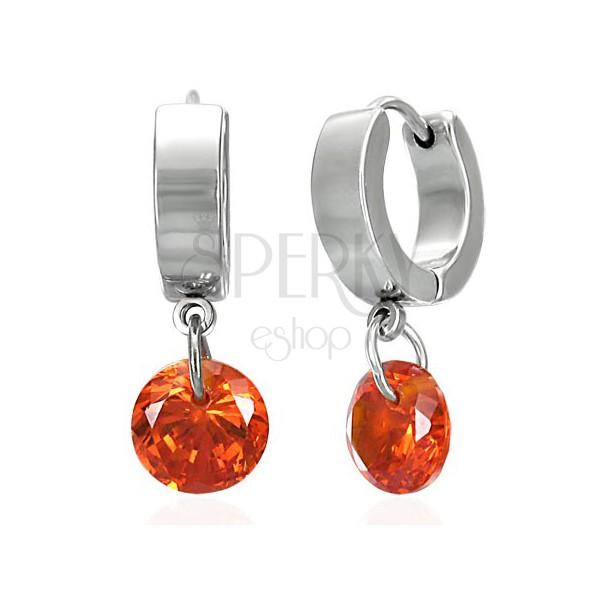 Oceľové náušnice s visiacim kužeľom, oranžové