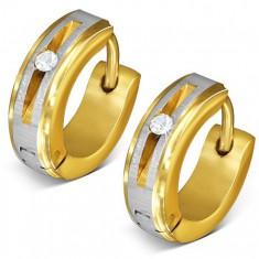 Šperky eshop - Oceľové náušnice zlatej farby - kruhy, saténový pás, okrúhly číry zirkón Q24.01