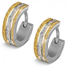 Ligotavé oceľové náušnice - krúžky, dvojfarebné pieskované pásy
