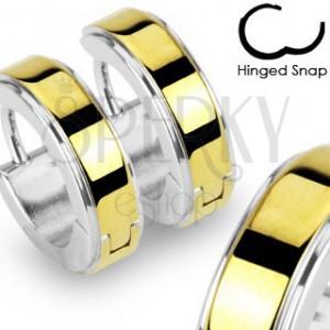 Okrúhle oceľové náušnice lesklej striebornej farby, hladký pás zlatej farby