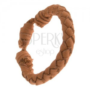 Oblý kožený pletený náramok škoricovohnedej farby