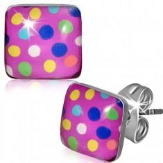 Štvorcové oceľové náušnice - farebné bodky, ružové pozadie