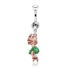 Lesklý oceľový piercing do pupku - farebná tancujúca žena, zirkón