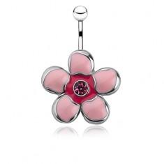 Piercing do brucha z chirurgickej ocele, ružový glazúrovaný kvietok