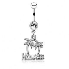 Lesklý oceľový piercing do brucha - dve palmy a nápis Hawaii