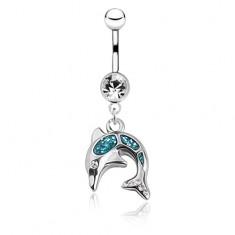 Lesklý oceľový piercing do brucha - skákajúci delfín, modrá glazúra, zirkóny