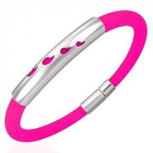 Gumový náramok s kovovou známkou - kvapky, reflexná ružová