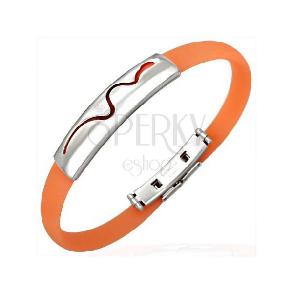 Gumový náramok - plaziaci sa had, oranžový