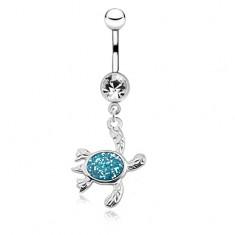Oceľový piercing do pupku, korytnačka s modrým trblietavým pancierom