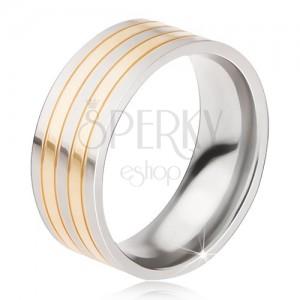 Titánový prsteň - lesklá obrúčka strieborno-zlatej farby, striedajúce sa pásy
