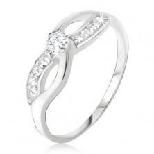 Strieborný prsteň 925 - symbol nekonečna, zirkónová línia, okrúhly kamienok