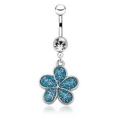 Oceľový piercing do pupku - päťlupeňový kvietok, modrá glazúra s trblietkami