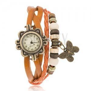 Analógové hodinky, ozdobne vyrezávané, pletený remienok, korálky