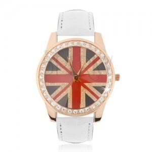 Náramkové hodinky z ocele - zlatoružové, britská vlajka, biely remienok