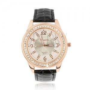 Oceľové hodinky zlatoružovej farby - bledoružový ciferník, zirkóny