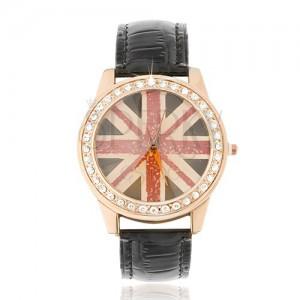 Náramkové hodinky z ocele - zlatoružové, britská vlajka, čierny remienok
