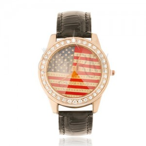 Analógové hodinky, zlatoružové, čierny remienok, americká zástava, zirkóny