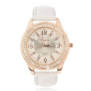 Oceľové hodinky zlatoružovej farby - béžový ciferník, zirkóny, biely náramok