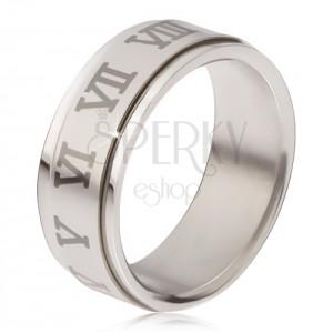 Lesklý prsteň z ocele - matná točiaca sa obruč, sivé rímske číslice