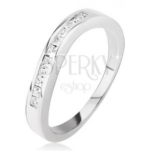 Strieborný prsteň 925 - mierne zvlnený, drobné štvorcové zirkóniky