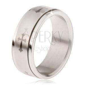 Lesklý prsteň z ocele - matná točiaca sa obruč, sivá potlač ľaliového kríža