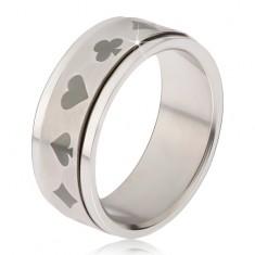 Oceľový prsteň - točiaca sa matná obruč, symboly hracích kariet