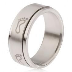Oceľový prsteň - točiaca sa matná obruč, potlač šľapají chodidiel