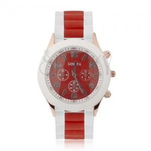Náramkové hodinky - červený ciferník, silikónový remienok