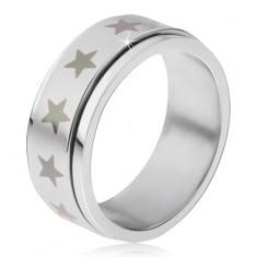 Oceľový prsteň - točiaca sa matná obruč, potlač šedých hviezd