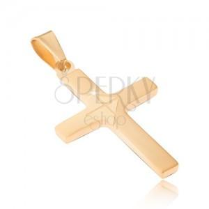 Prívesok z chirurgickej ocele zlatej farby, matný latinský kríž, lesklá šípka